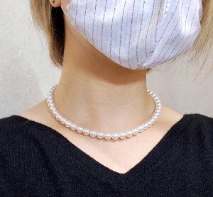 真珠,パール,ネックレス,高級グレード,無調色,花珠,8.0mm,8.5mm,イヤリング,ピアス,セット,鑑別書付